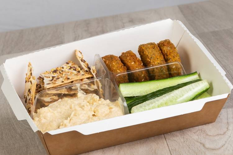 This perfect vegan snack contains fresh sliced cucumber, mediterrainean falafels, reduced fat houmous and thin seeded crackers.