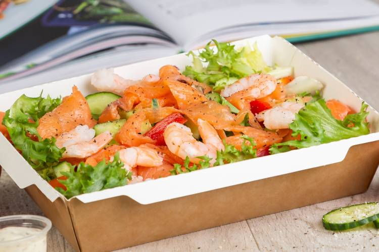 Mixed leaf salad with King prawn, smoked salmon and a honey mustard dressing