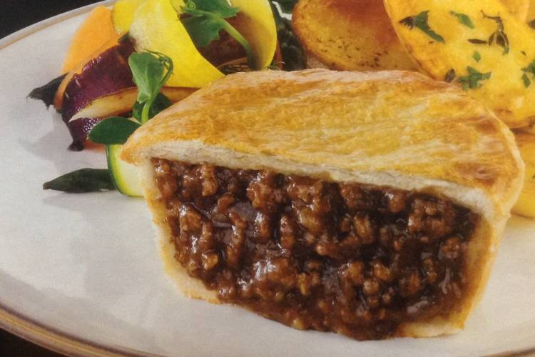 Minced beef and onion in a rich gravy encased in a light golden puff pastry